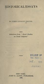 Cover of: Historical essays