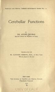 Cover of: Cerebellar functions | AndrГ© Thomas
