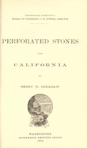 Cover of: Perforated stones from California |