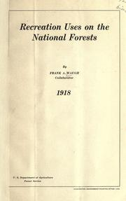 Cover of: Recreation uses on the national forests