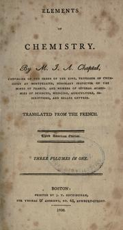 Cover of: Elément de chimie