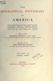 Cover of: Biographical dictionary of America ..