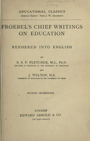 Cover of: Froebel's chief writings on education