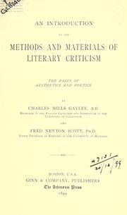 Cover of: An introduction to the methods and materials of literary criticism