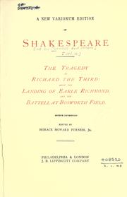 Cover of: A new variorum edition of Shakespeare: Edited by Horace Howard Furness [and others]