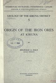 Cover of: Origin of the iron ores at Kiruna