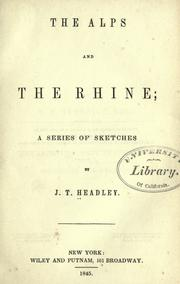 Cover of: The Alps and the Rhine: a series of sketches