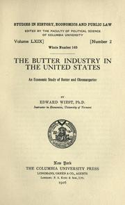 Cover of: The butter industry in the United States
