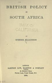 Cover of: British policy in South Africa