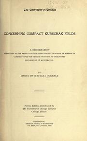 Cover of: Concerning compact Kürschák fields ..
