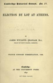 Cover of: Election by lot at Athens | Headlam-Morley, James Wycliffe Sir