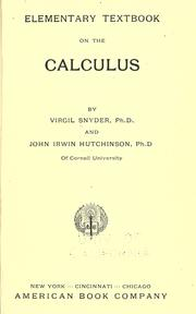 Cover of: Elementary textbook on the calculus