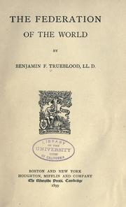 Cover of: The federation of the world