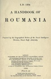 Cover of: A handbook of Roumania. | Great Britain. Admiralty.