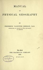 Cover of: Manual of physical geography. | Frederick V. Emerson