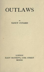 Cover of: Outlaws | Nancy Cunard