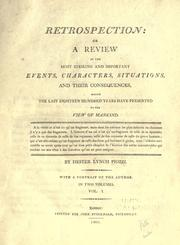 Cover of: Retrospection, or, A review of the most striking and important events, characters, situations, and their consequences, which the last eighteen hundred years have presented to the view of mankind
