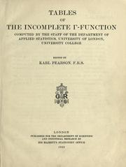 Cover of: Tables of the incomplete [gamma]-function