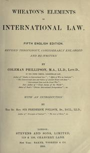 Cover of: Wheaton's Elements of international law