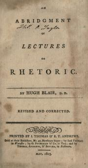 Cover of: An abridgment of Lectures on rhetoric