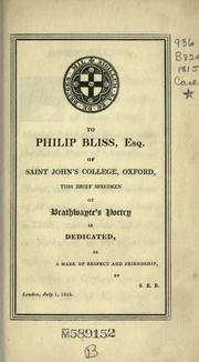 Cover of: Brathwayte's Odes