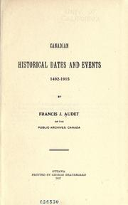 Cover of: Canadian historical dates and events, 1492-1915. | François Joseph Audet