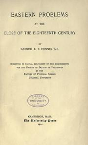 Cover of: Eastern problems at the close of the eighteenth century