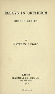 Essays by Matthew Arnold