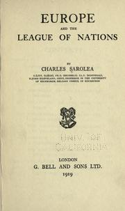 Cover of: Europe and the League of Nations | Sarolea, Charles