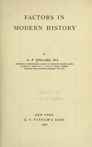 Cover of: Factors in modern history