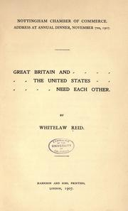 Cover of: Great Britain and the United States need each other