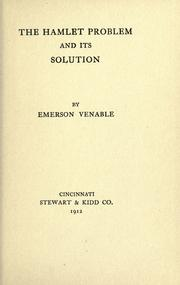 The Hamlet problem and its solution by Emerson Venable