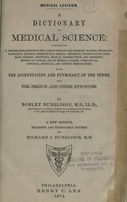 Medical lexicon by Robley Dunglison