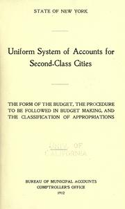 Cover of: Uniform system of accounts for second-class cities |
