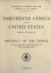 Cover of: Thirteenth census of the United States taken in the year 1910