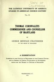 Cover of: Thomas Cornwaleys, commissioner and counsellor of Maryland | George Boniface Stratemeier