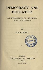 Cover of: Democracy and education | John Dewey