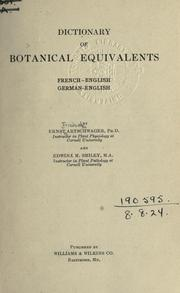 Cover of: Dictionary of botanical equivalents