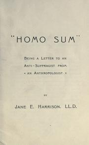 "Cover of: ""Homo Sum"" being a letter to an anti-suffragist from an anthropologist"