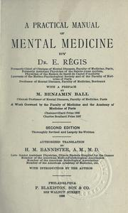 Cover of: A practical manual of mental medicine by E. Régis