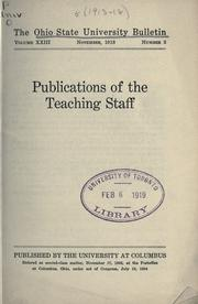 Cover of: Publications of the teaching staff