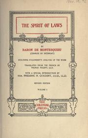 Cover of: The Spirit of laws | Charles-Louis de Secondat baron de La BreМЂde et de Montesquieu