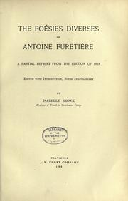 Cover of: The Poésies diverses of Antoine Furetieère