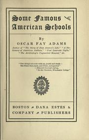 Cover of: Some famous American schools | Oscar Fay Adams