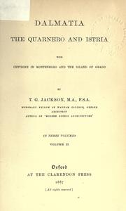 Cover of: Dalmatia by Jackson, Thomas Graham Sir
