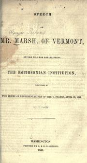 Cover of: Speech on the bill for establishing the Smithsonian Institution