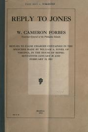 Cover of: Reply to Jones