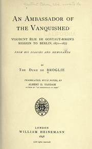 Cover of: An ambassador of the vanquished