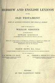 Cover of: A Hebrew and English lexicon of the Old Testament |