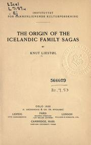 Cover of: The origin of the Icelandic family sagas